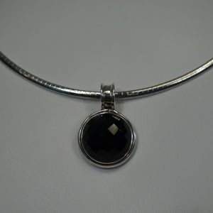 Jewelry - .925 Silver Omega Necklace With Onyx Pendant